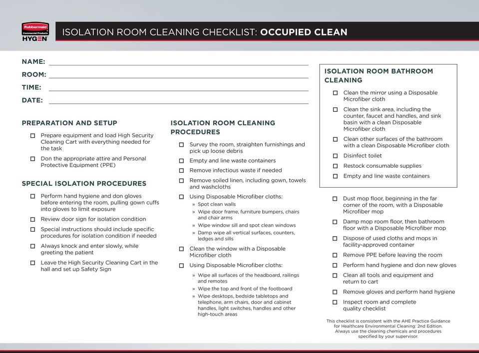 Patient Room Cleaning Checklist Terminal Clean Pdf