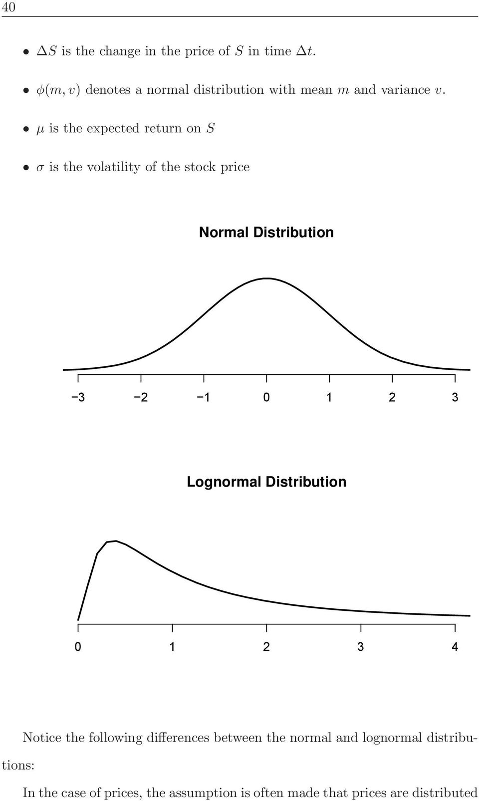 μ is the expected return on S σ is the volatility of the stock price Normal Distribution 3 2 1 0 1 2 3