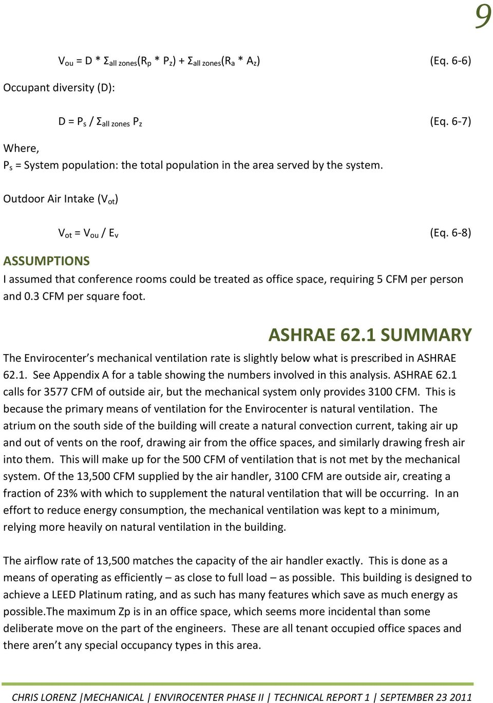 Envirocenter phase ii technical report 1 jessup maryland for Ashrae 62 1 table 6 1