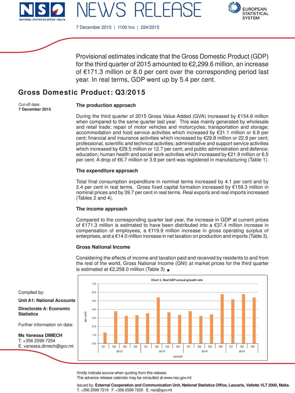 Gross Domestic Product: Q3/ Cut-off date: 7 December The production approach During the third quarter of Gross Value Added (GVA) increased by 154.6 million when compared to the same quarter last year.