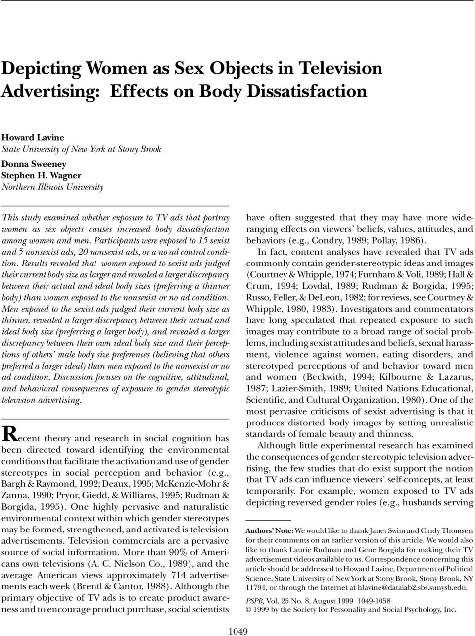 The Negative Effects of Women's Advertisements