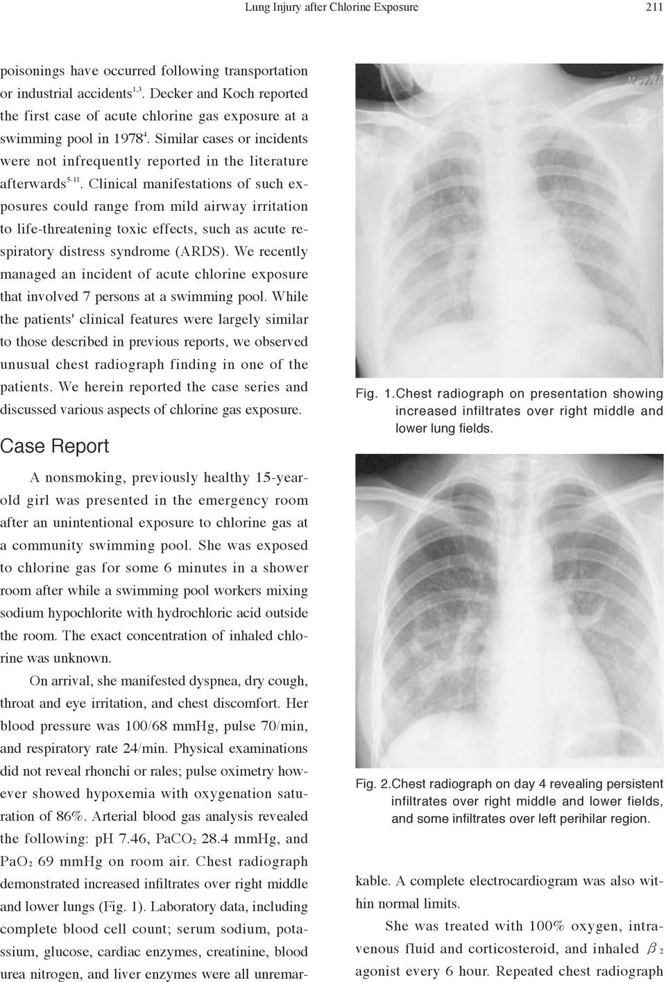 Chlorine Gas Exposure Manifesting Acute Lung Injury Pdf