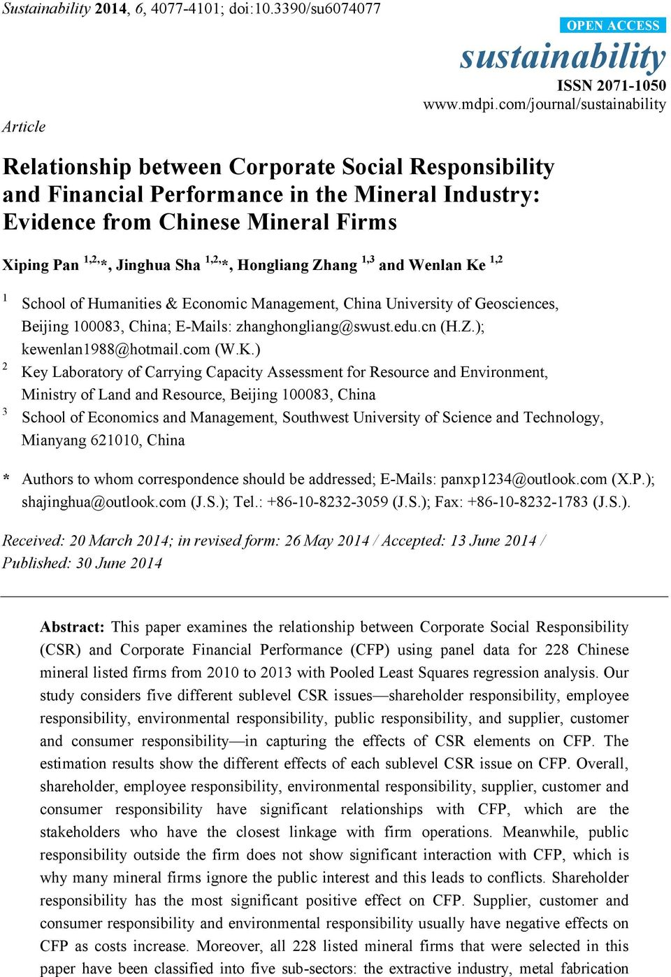 Corporate Social and Financial Performance: A Meta-Analysis