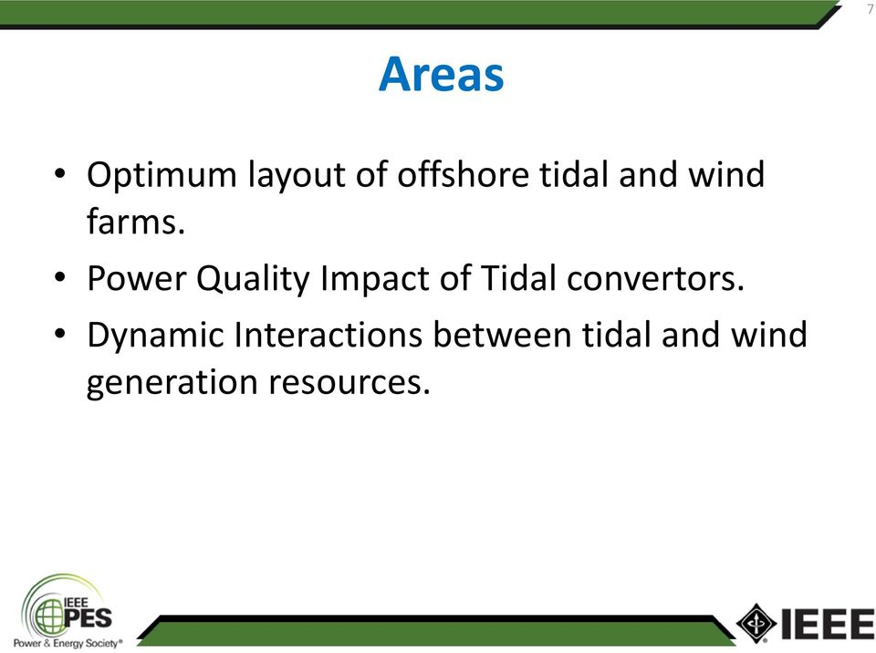 Power Quality Impact of Tidal convertors.