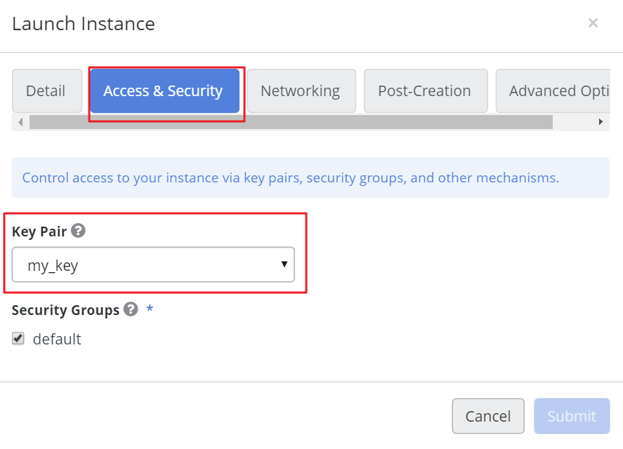 3. Switch to the Access & Security tab.