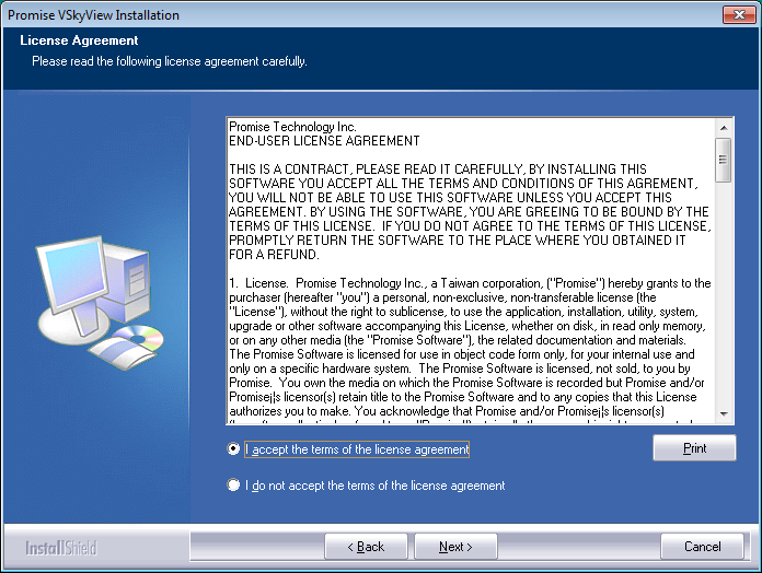 1. Double-click on the VSkyView Installation Package file; the Setup Type window appears.