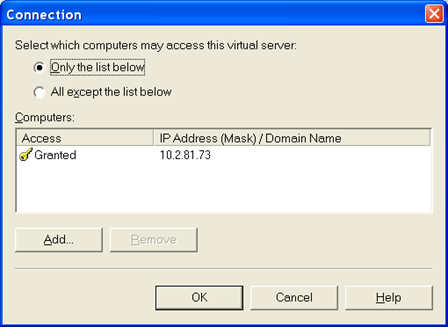 FIGURE 2: ANONYMOUS ACCESS OPTION 7. In the Access tab field, click the Connection button. Decide which computer or computers will be granted access permission to this virtual server. 8.