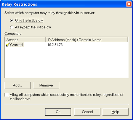 FIGURE 4: GRANT RELAY PERMISSION TO SCADALARM NODE 12. Click OK to save the configuration. 13. Click the Security tab. 14.