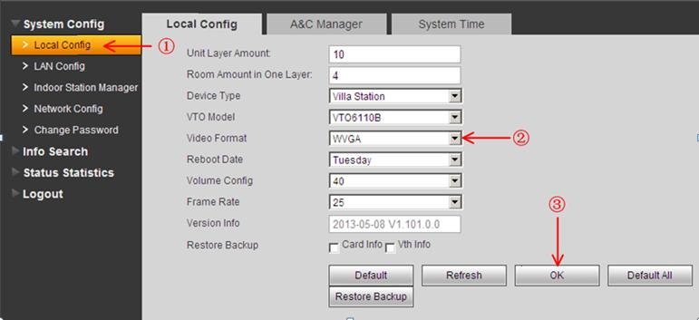 Figure 2-1 Basic Configuration: Step 1 Check system Config>Local Config> set Video