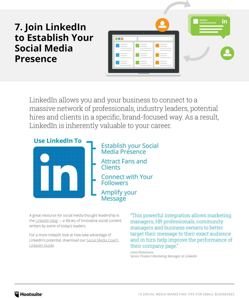 Use LinkedIn To Establish your Social Media Presence Attract Fans and Clients Connect with Your Followers Amplify your Message A great resource for social media thought leadership is the LinkedIn
