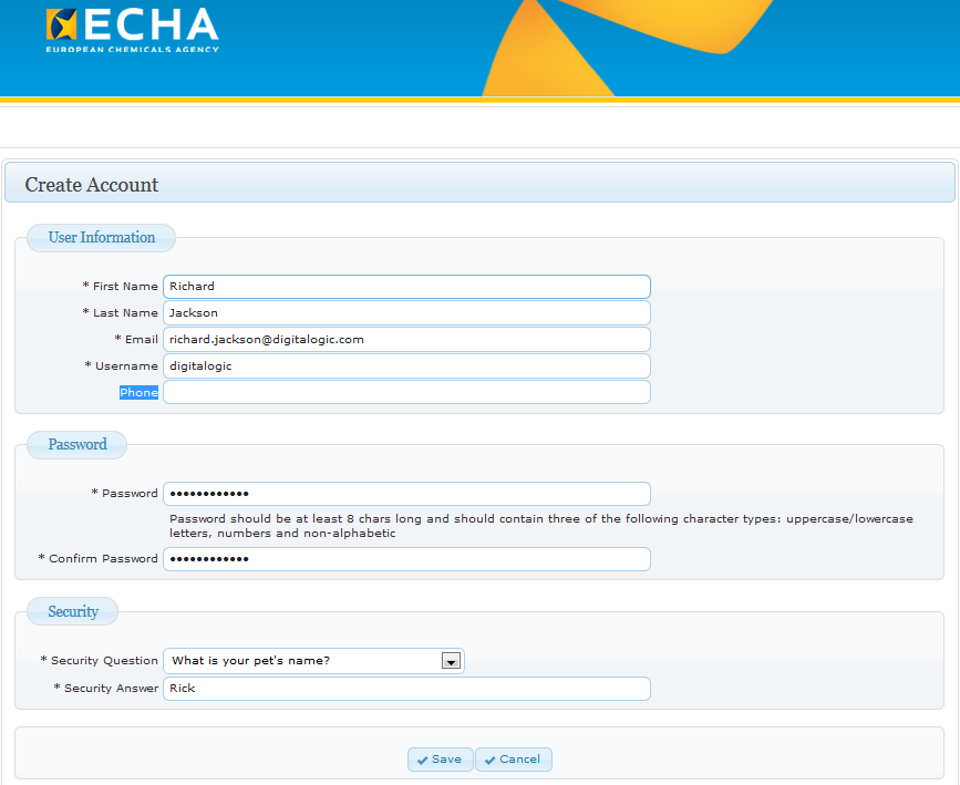 14 ECHA Accounts Manual All the mandatory fields (*) need to be filled in.
