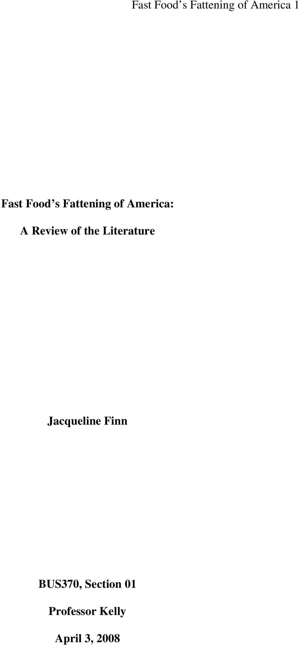 of the Literature Jacqueline Finn