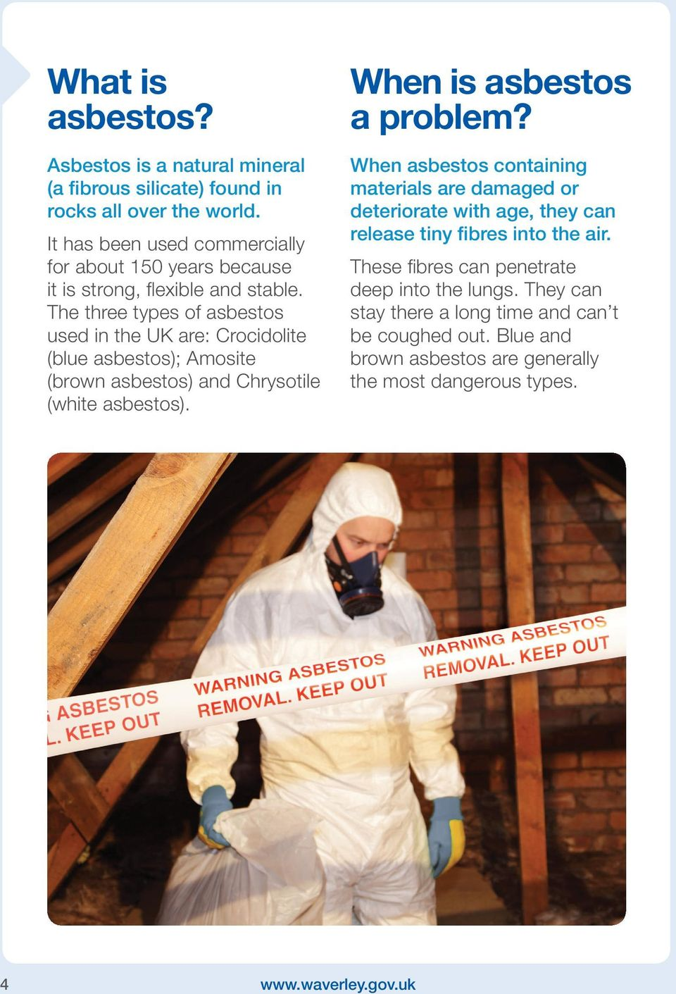 The three types of asbestos used in the UK are: Crocidolite (blue asbestos); Amosite (brown asbestos) and Chrysotile (white asbestos). When is asbestos a problem?