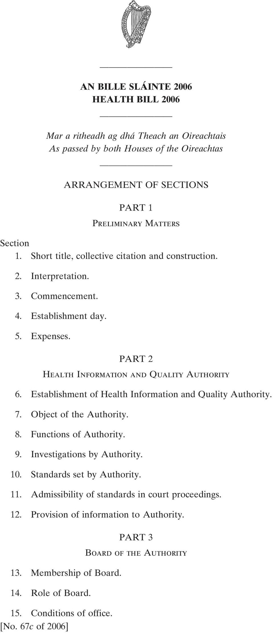 Establishment of Health Information and Quality Authority. 7. Object of the Authority. 8. Functions of Authority. 9. Investigations by Authority. 10. Standards set by Authority. 11.