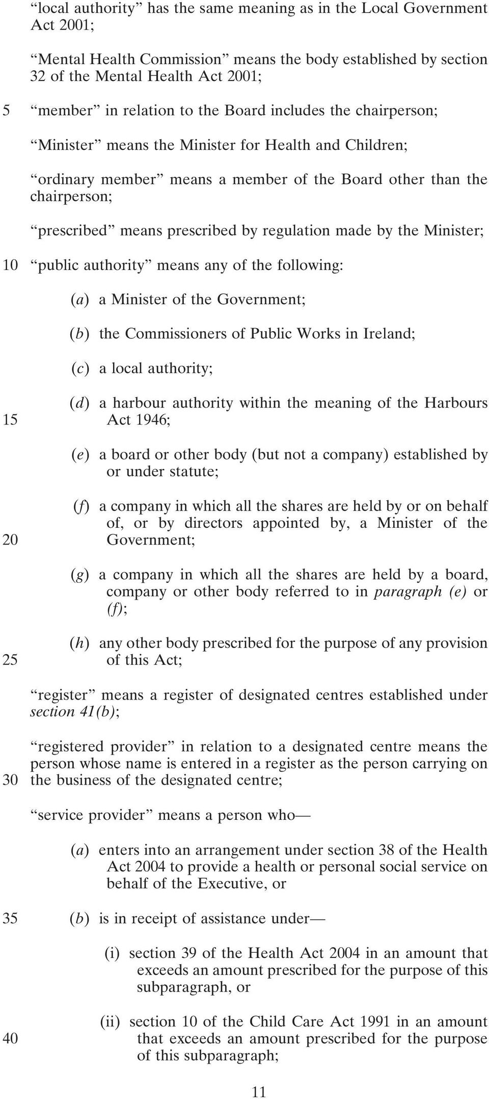 made by the Minister; 10 public authority means any of the following: (a) a Minister of the Government; (b) the Commissioners of Public Works in Ireland; (c) a local authority; 15 (d) a harbour