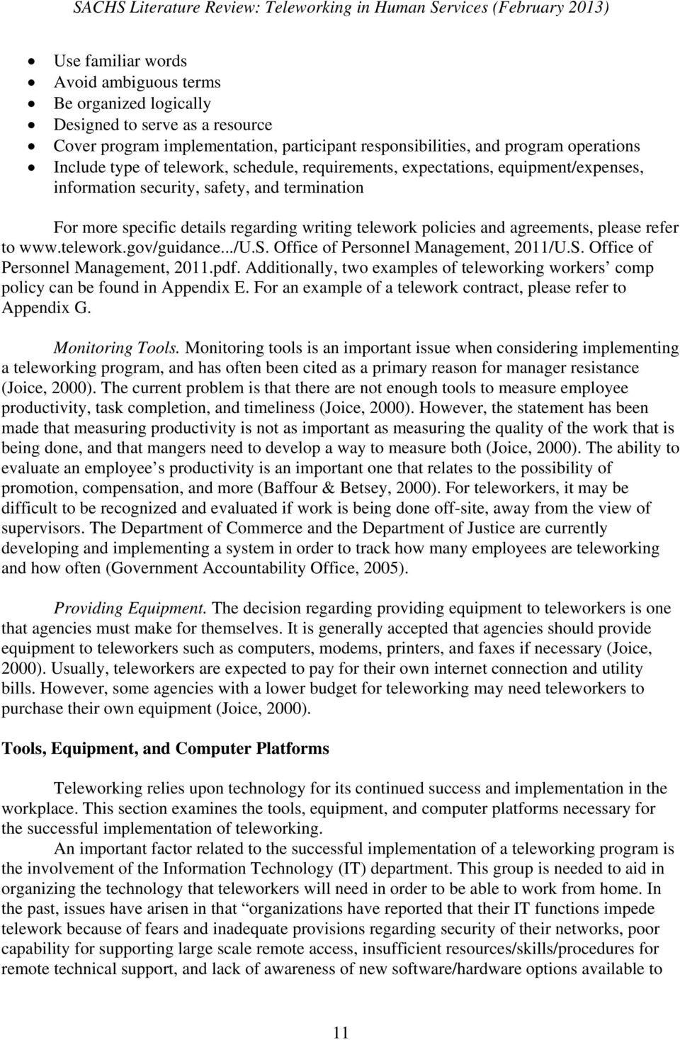 Literature Review Teleworking In Human Services Pdf