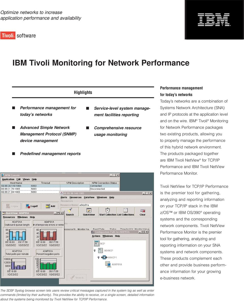 wire. IBM Tivoli Monitoring Advanced Simple Network Management Protocol (SNMP) device management Comprehensive resource usage monitoring for Network Performance packages two existing products,
