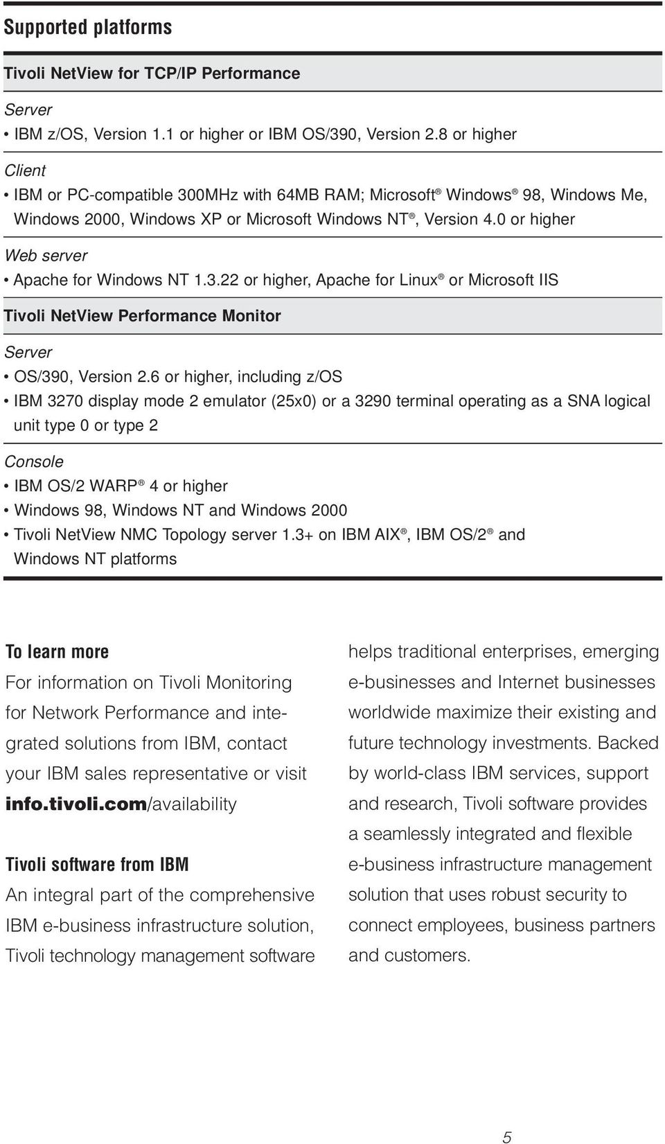 0 or higher Web server Apache for Windows NT 1.3.22 or higher, Apache for Linux or Microsoft IIS Tivoli NetView Performance Monitor Server OS/390, Version 2.