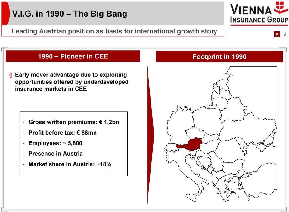 1990 Pioneer in CEE Footprint in 1990 Early mover advantage due to exploiting opportunities