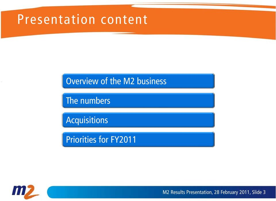 iti Priorities for FY2011 M2 Results