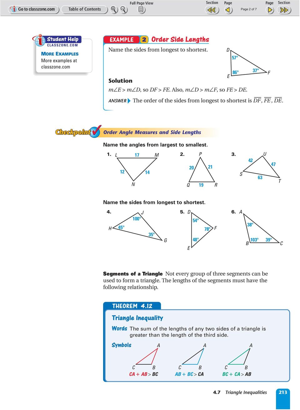. 20 21 12 14 19 S 42 U 47 ame the sides from longest to shortest. 4... 100 4 4 78 G 48 8 10 9 Segments of a riangle ot every group of three segments can be used to form a triangle.