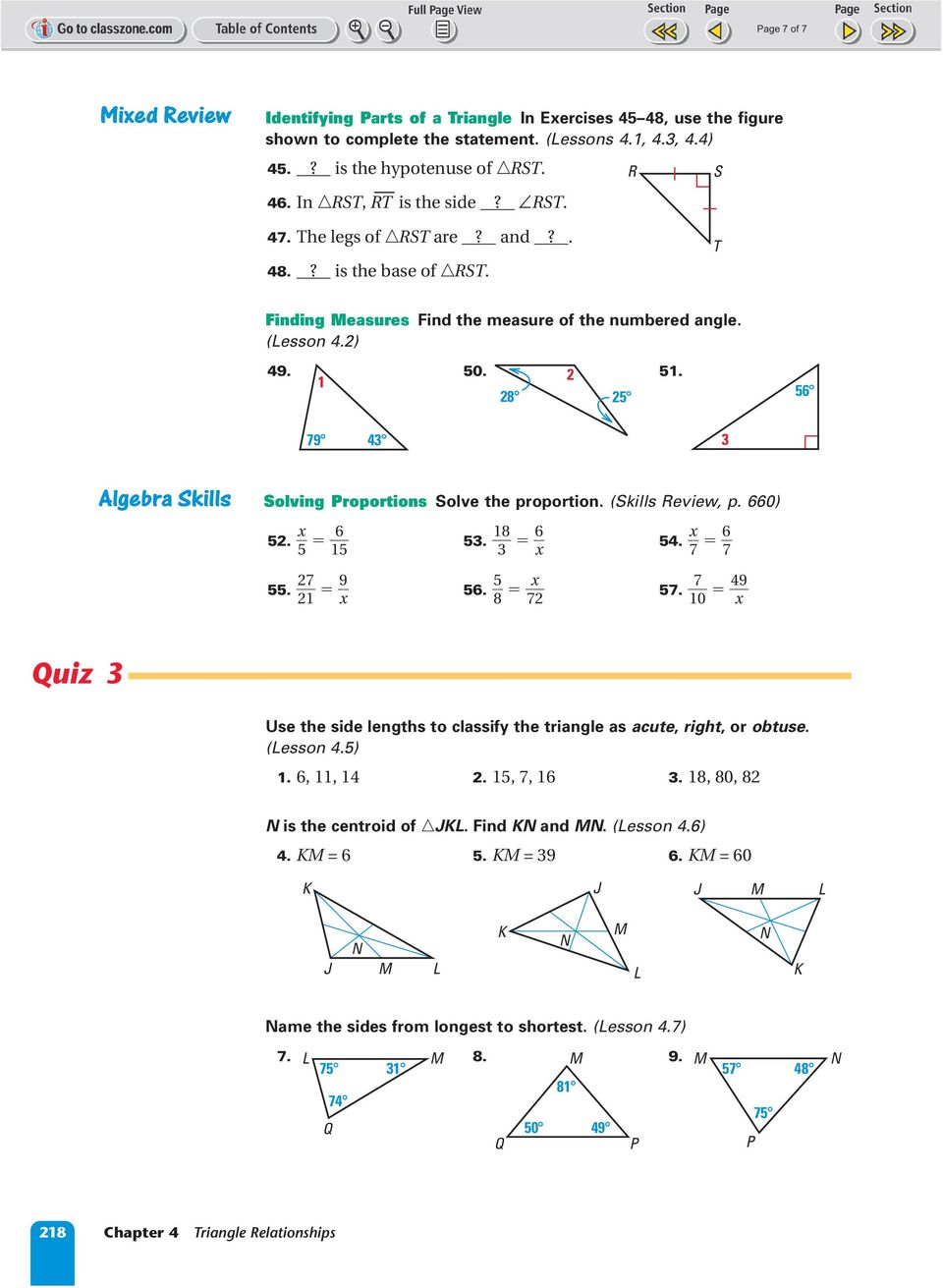 1 2 28 2 79 4 lgebra Skills Solving roportions Solve the proportion. (Skills eview, p. 0) x 2. 1. 1 8 x 4. x 7 7. 2 7 21 9 x. 8 x 7 7.