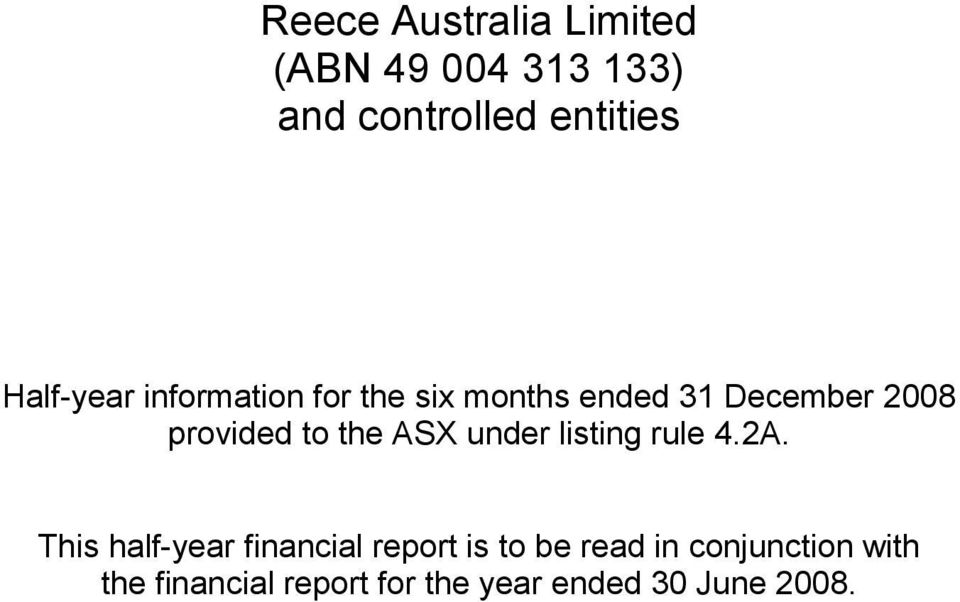 to the ASX under listing rule 4.2A.