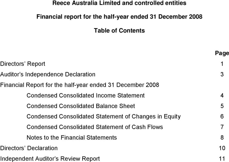 Statement 4 Condensed Consolidated Balance Sheet 5 Condensed Consolidated Statement of Changes in Equity 6 Condensed