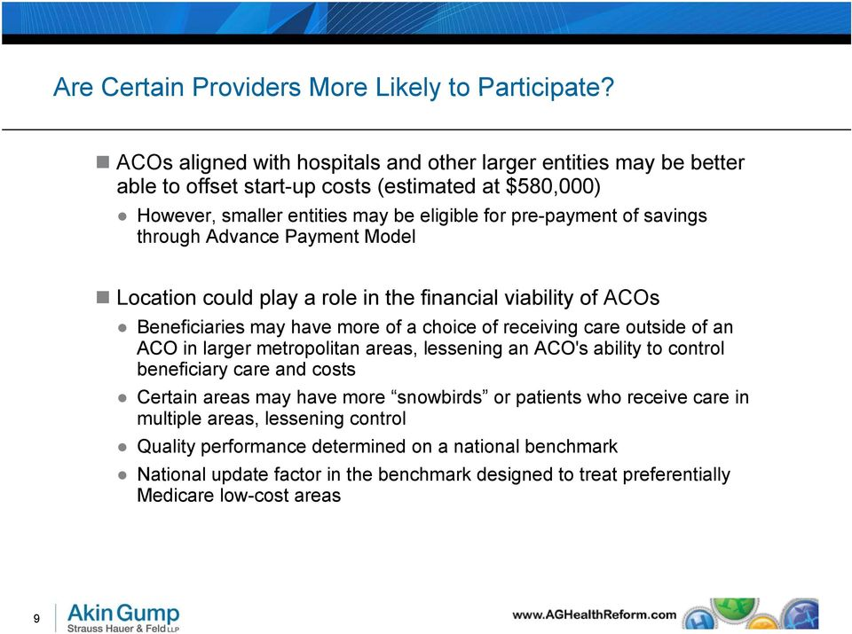 savings through Advance Payment Model Location could play a role in the financial viability of ACOs Beneficiaries may have more of a choice of receiving care outside of an ACO in larger