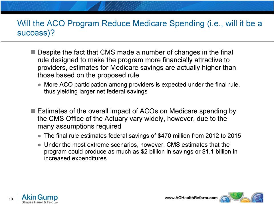 those based on the proposed rule More ACO participation among providers is expected under the final rule, thus yielding larger net federal savings Estimates of the overall impact of ACOs on Medicare