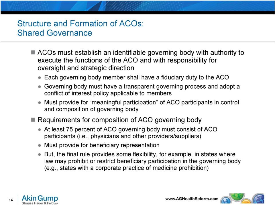 members Must provide for meaningful participation of ACO participants in control and composition of governing body Requirements for composition of ACO governing body At least 75 percent of ACO