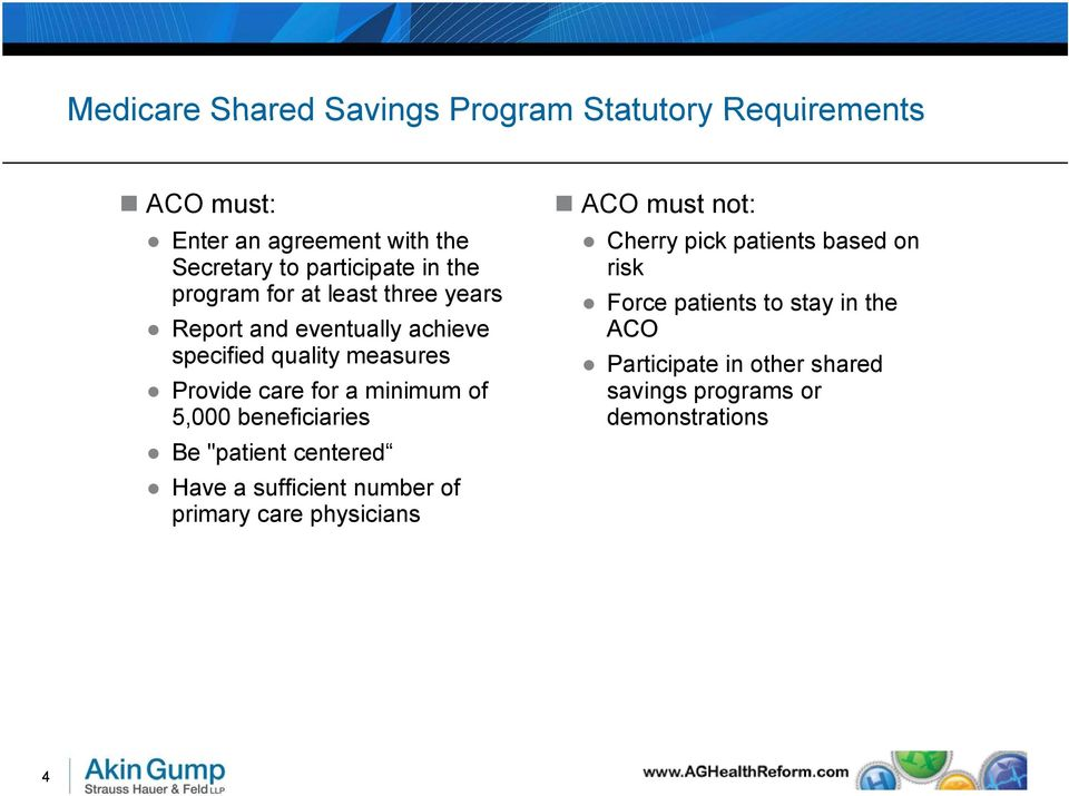 "of 5,000 beneficiaries Be ""patient centered Have a sufficient number of primary care physicians ACO must not: Cherry pick"
