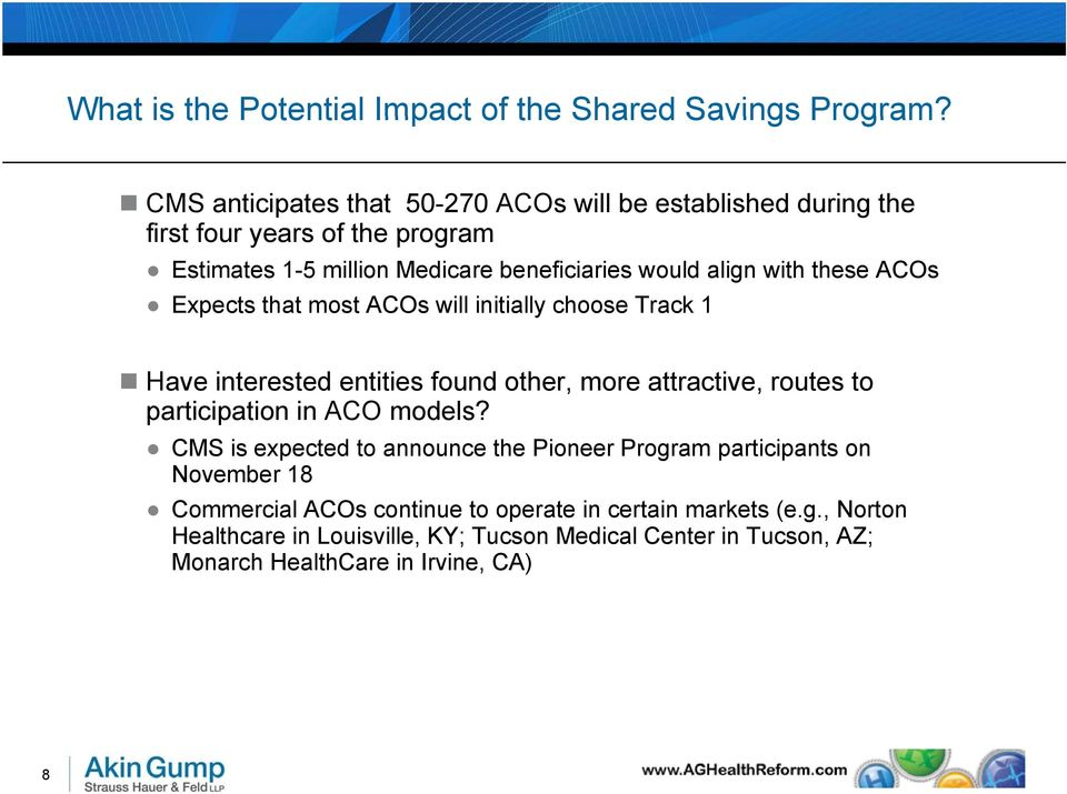 with these ACOs Expects that most ACOs will initially choose Track 1 Have interested entities found other, more attractive, routes to participation in ACO