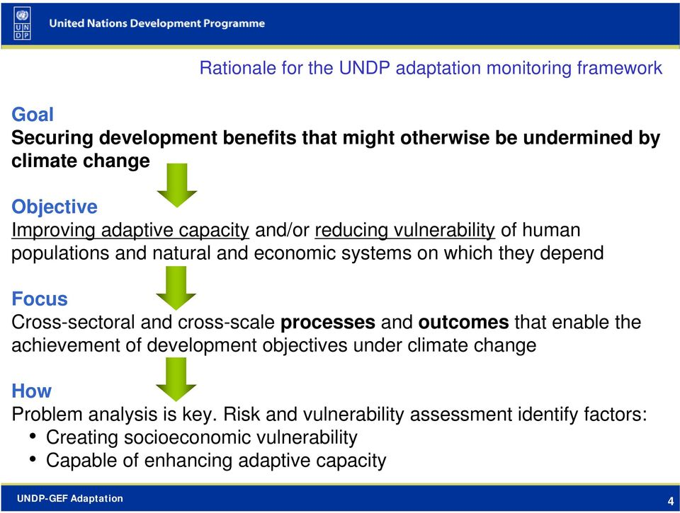 Focus Cross-sectoral and cross-scale processes and outcomes that enable the achievement of development objectives under climate change How