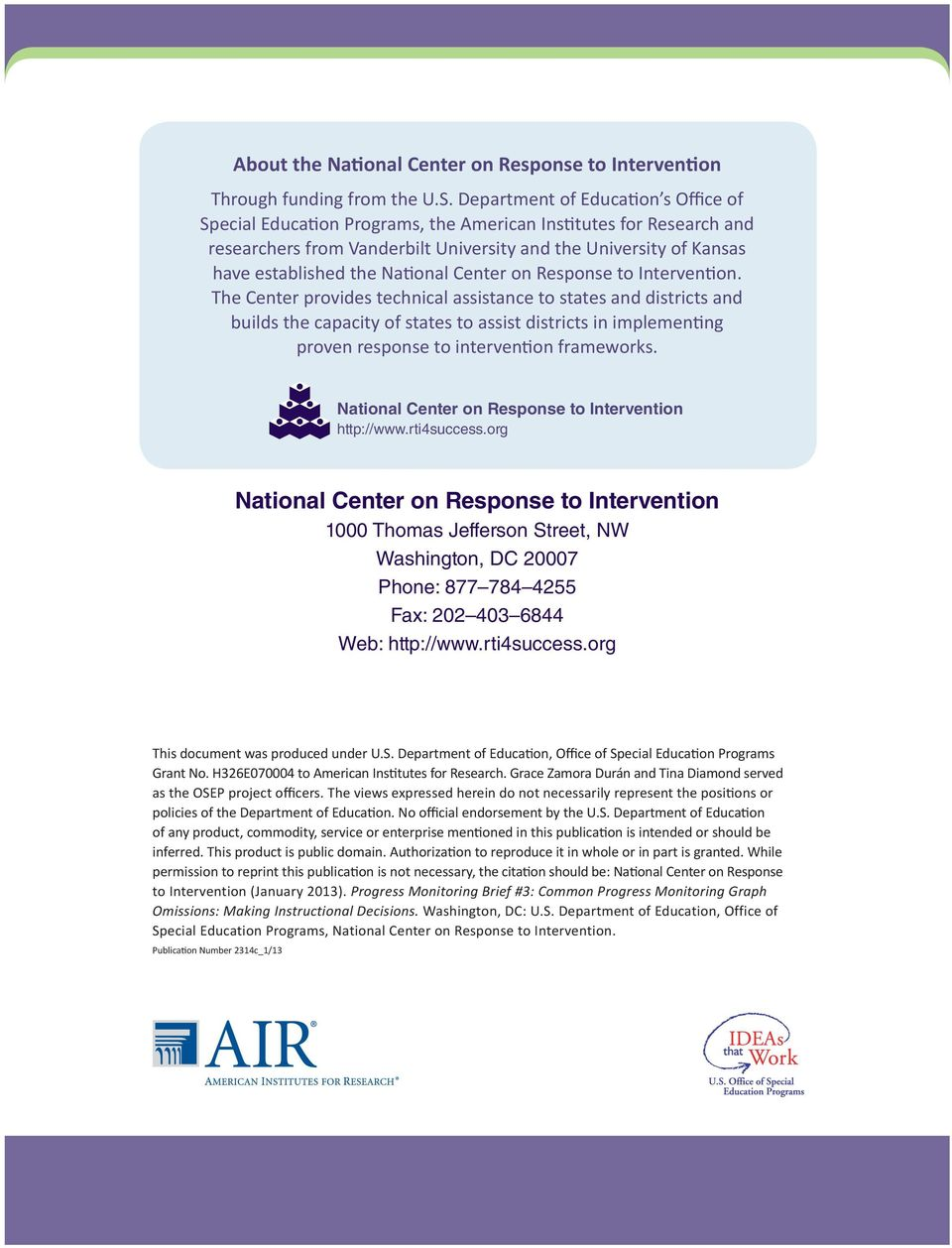 National Center on Response to Intervention.