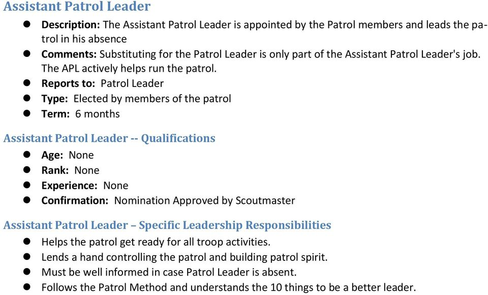 Reports to: Patrol Leader Type: Elected by members of the patrol Assistant Patrol Leader -- Qualifications Confirmation: Nomination Approved by Scoutmaster Assistant Patrol Leader