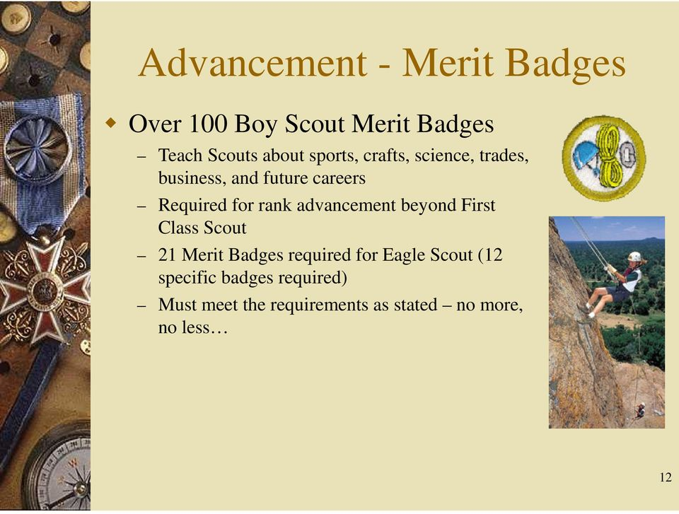advancement beyond First Class Scout 21 Merit Badges required for Eagle Scout