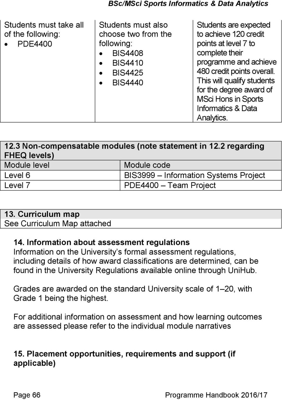 3 Non-compensatable modules (note statement in 12.2 regarding FHEQ levels) Module level Module code Level 6 BIS3999 Information Systems Project Level 7 PDE4400 Team Project 13.