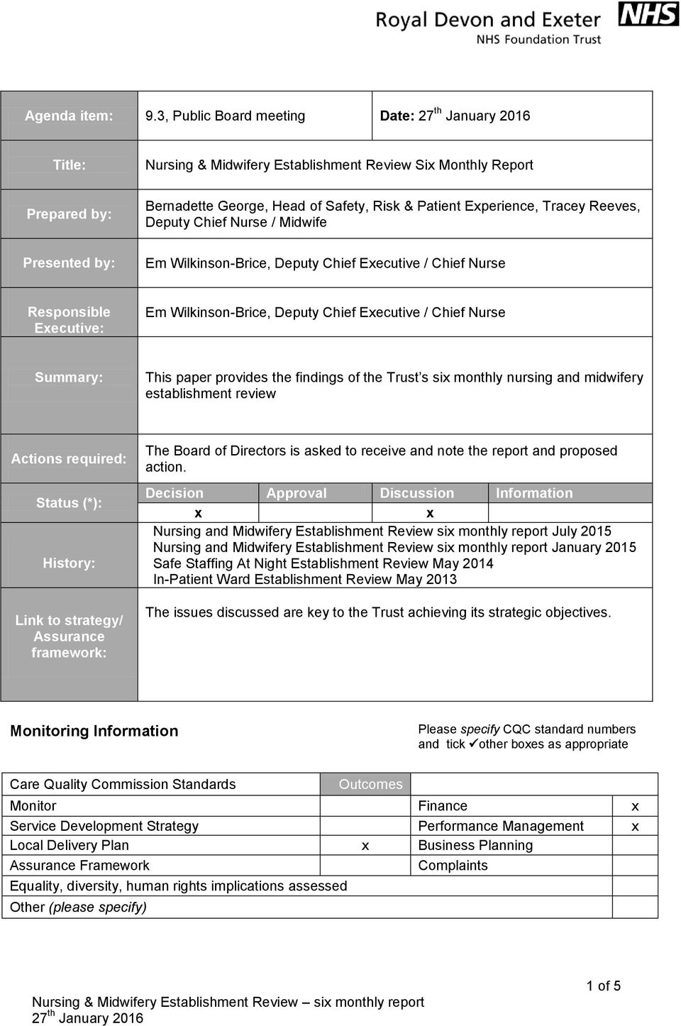 Reeves, Deputy Chief Nurse / Midwife Em Wilkinson-Brice, Deputy Chief Executive / Chief Nurse Responsible Executive: Em Wilkinson-Brice, Deputy Chief Executive / Chief Nurse Summary: This paper