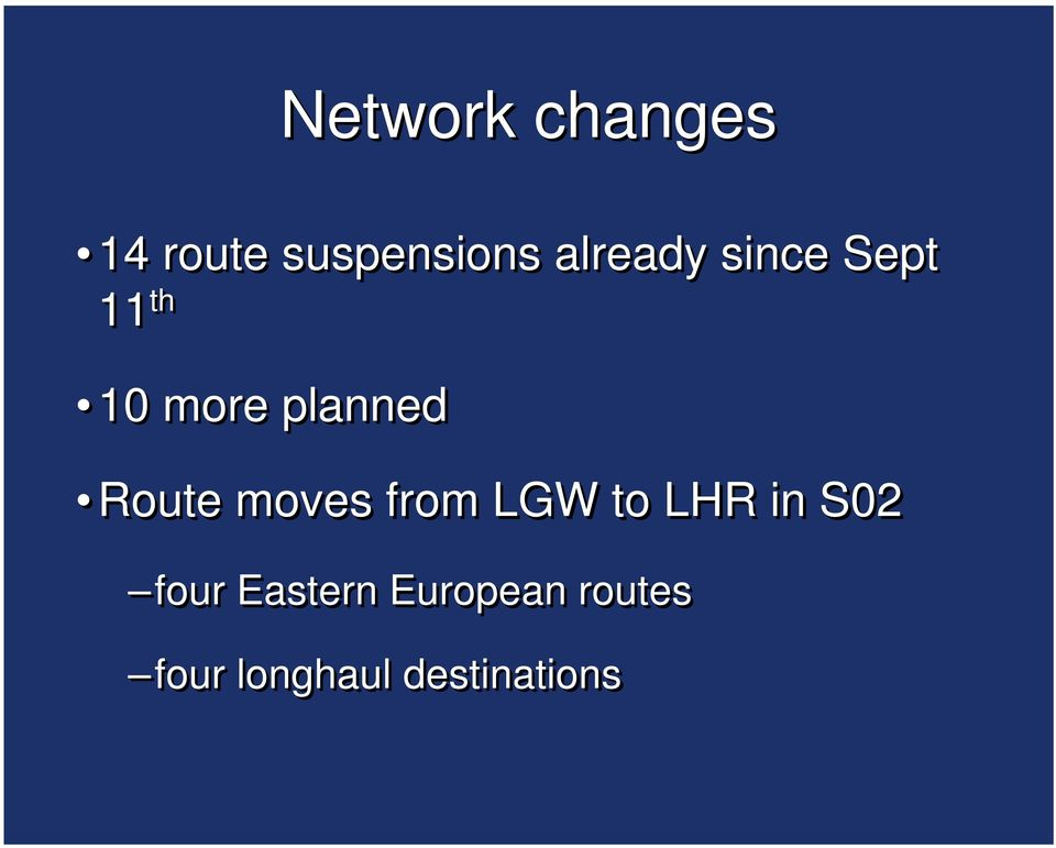 Route moves from LGW to LHR in S02 four