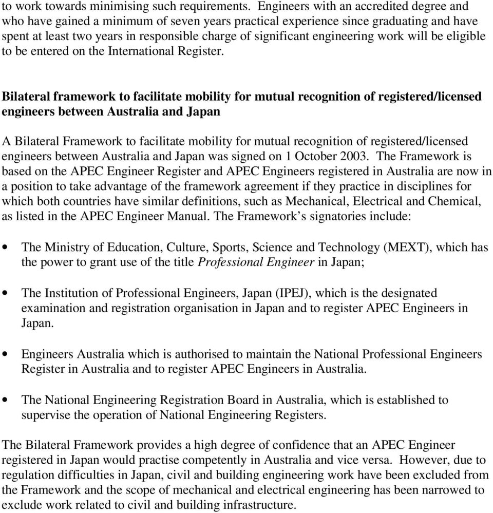 engineering work will be eligible to be entered on the International Register.