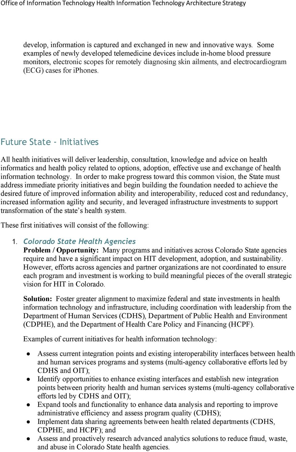Future State Initiatives All health initiatives will deliver leadership, consultation, knowledge and advice on health informatics and health policy related to options, adoption, effective use and