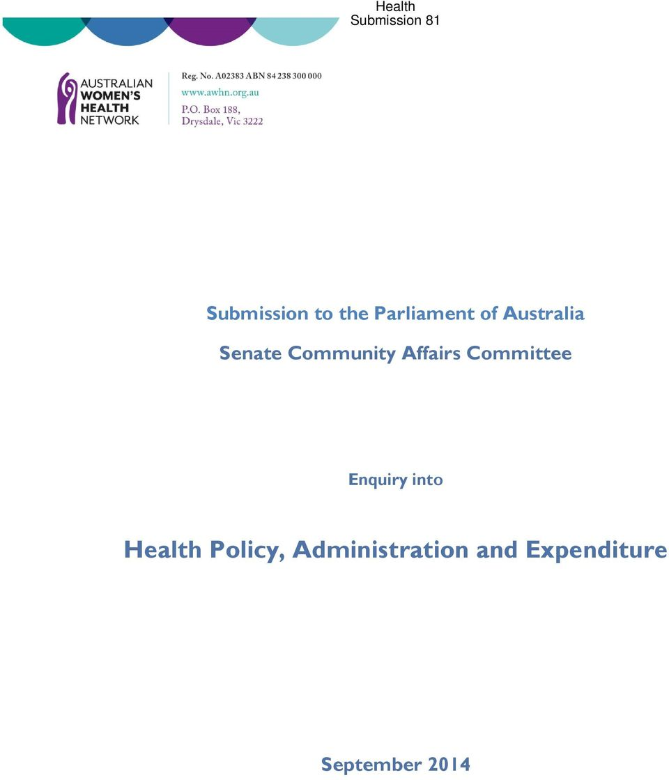 Committee Enquiry into Health Policy,