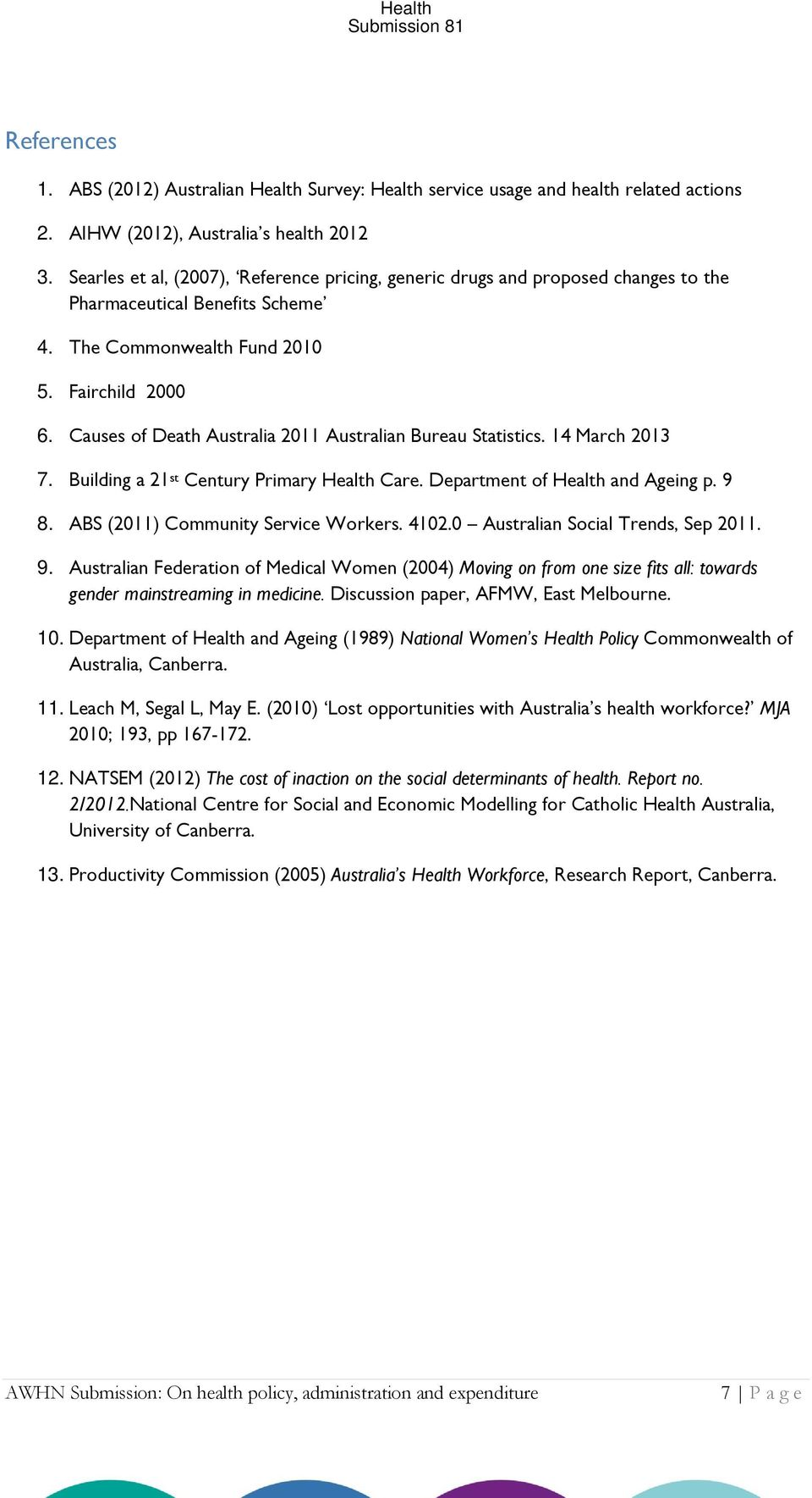 Causes of Death Australia 2011 Australian Bureau Statistics. 14 March 2013 7. Building a 21 st Century Primary Health Care. Department of Health and Ageing p. 9 8.