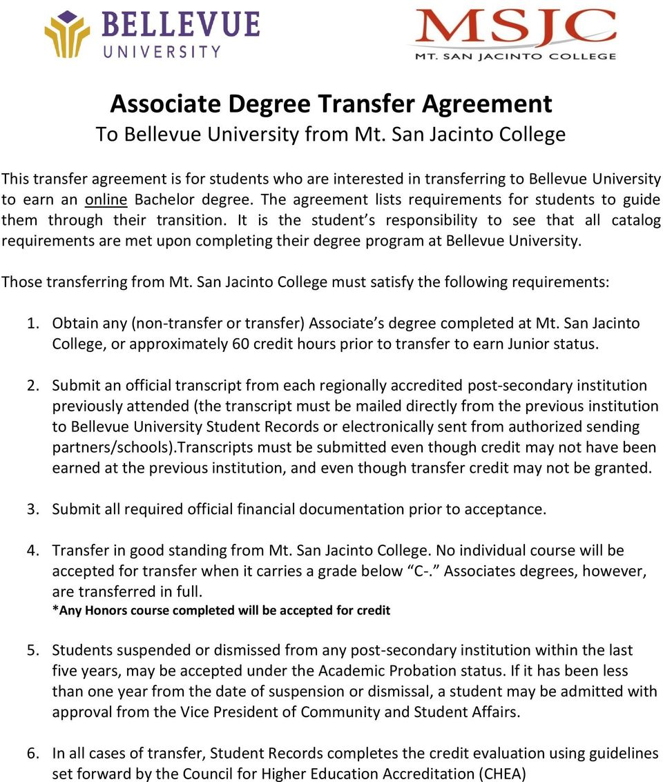 The agreement lists requirements for students to guide them through their transition.