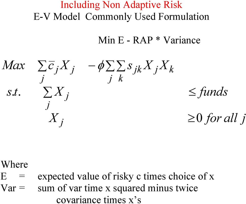 c φ s funds 0 for all Where E = expected value of risy c times choice of x Var =