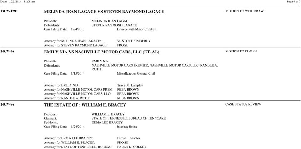 AL) EMILY NIA NASHVILLE MOTOR CARS PREMIER, NASHVILLE MOTOR CARS, LLC, RANDLE A. ROTH Case Filing Date: 1/15/2014 Miscellaneous General Civil MOTION TO COMPEL 14CV-86 Attorney for EMILY NIA: Travis M.
