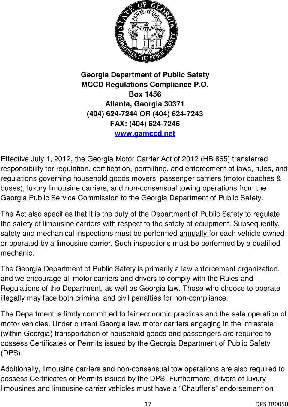 governing household goods movers, passenger carriers (motor coaches & buses), luxury limousine carriers, and non-consensual towing operations from the Georgia Public Service Commission to the Georgia