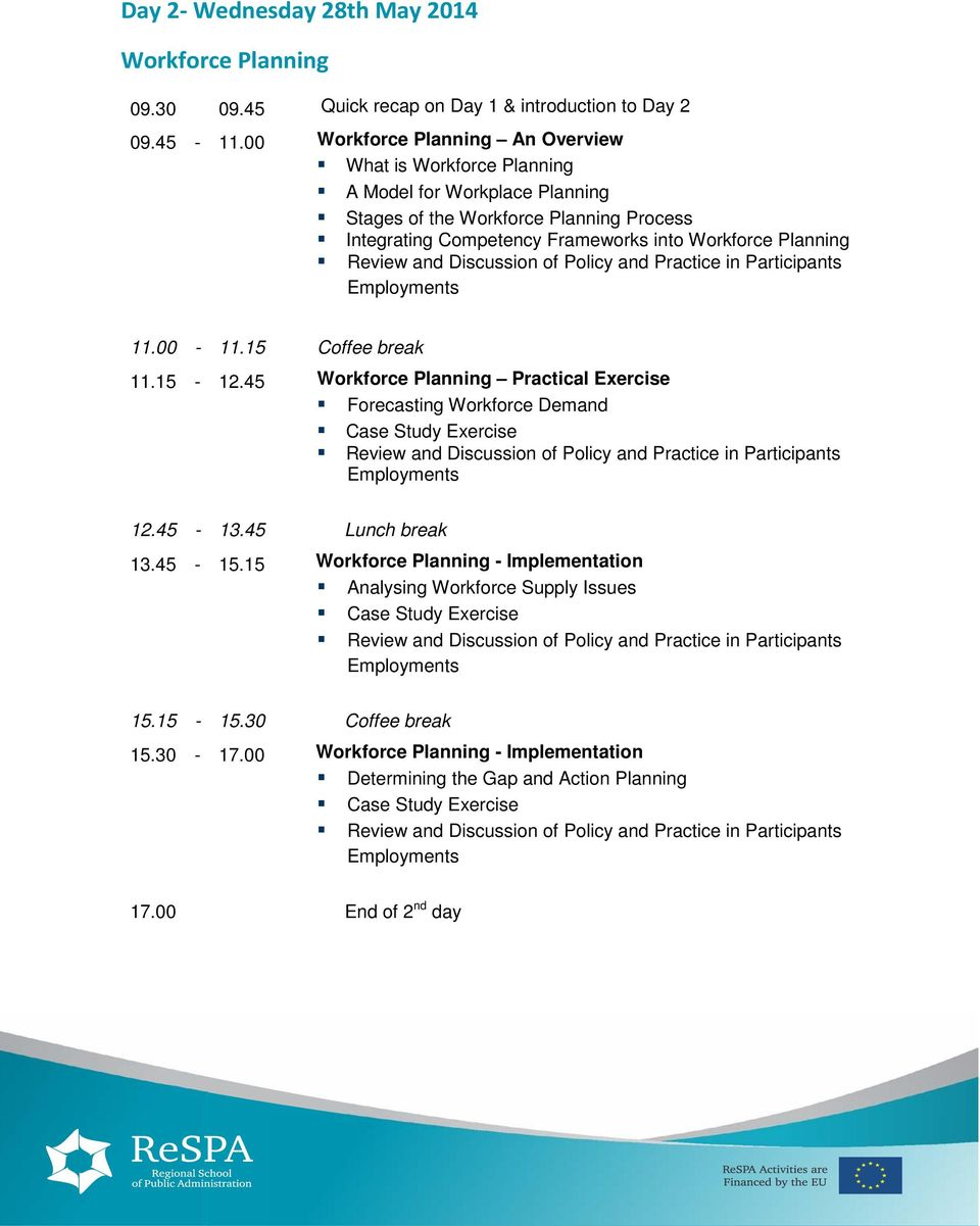 and Discussion of Policy and Practice in Participants Employments 11.00-11.15 Coffee break 11.15-12.