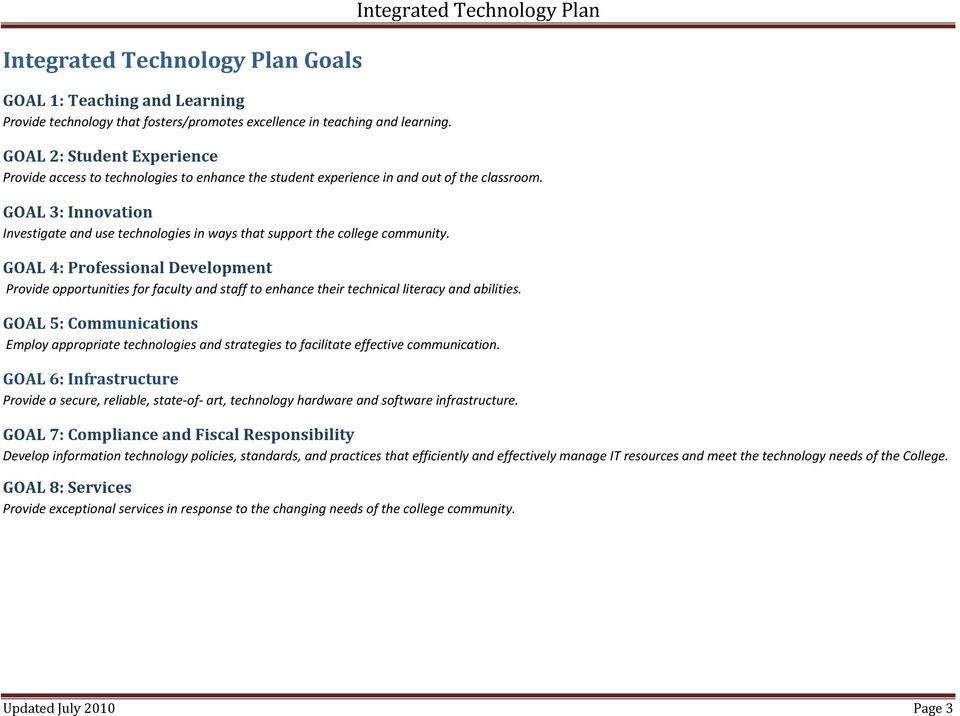 GOAL 3: Innovation Investigate and use technologies in ways that support the college community.